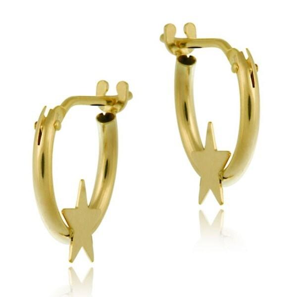 Mondevio 10k Gold Mini Star Hoop Earrings
