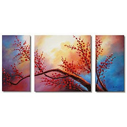 'Plum Blossom' Hand-painted Oil Art Set