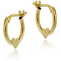 Mondevio 10k Gold Mini Heart Hoop Earrings