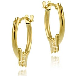 Mondevio 10k Gold 11 mm Mini Butterfly Hoop Earrings