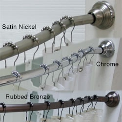 Curved Adjustable Shower Rod with Vinyl Shower Liner and Hooks Set