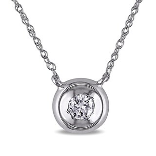 Haylee Jewels 10k White Gold Diamond Solitaire Necklace (H-I, I2-I3)