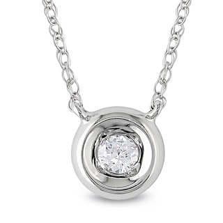 Miadora 10k White Gold 1/10ct TDW Diamond Solitaire Necklace (H-I, I2-I3)