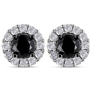 Miadora 14k Gold 1 1/2ct TDW Black/ White Diamond Halo Earrings(H-I, I2-I3)