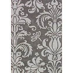 Hand-Tufted Gray Floral Wool Area Rug (5' x 8')