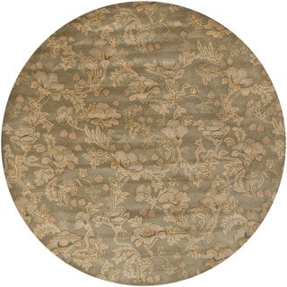 Hand-Tufted Mandara Transitional Floral Wool Rug (7'9 Round)