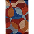 "Hand-Tufted Mandara Multicolor New Zealand Wool Area Rug (7'9"" x 10'6"")"
