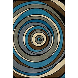 Hand-Tufted Modern Mandara New Zealand Wool Rug (7'9 x 10'6)