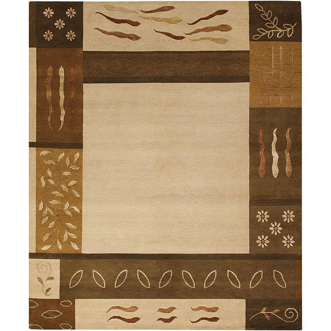 Hand-Knotted Color-Blocked Mandara New Zealand Wool Rug (9' x 12')