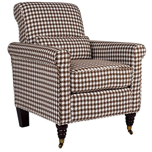 angelo:HOME Harlow Houndstooth Brown Check Arm Chair