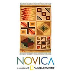 Peruvian 'Calendar' Wool Rug (2' x 3')