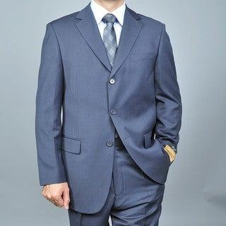 Men's Grey 3-button Wool/ Silk Blend Suit
