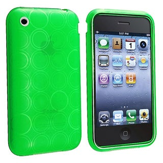 Eforcity Clear Green Circle TPU Rubber Case for Apple iPhone 3G/3GS