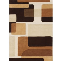 Hand-tufted Hidden Blocks Brown Wool Rug (8' x 10')