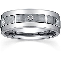 Men's Tungsten 1/6ct TDW Diamond Satin Spinner Band (8 mm)