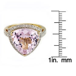 Beverly Hills Charm 14k Yellow Gold Kunzite and 1/2ct TDW Diamond Ring