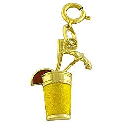 Fremada 14k Yellow Gold and Enamel Tropical Drink Charm
