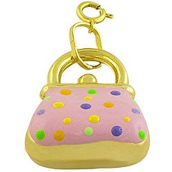Fremada 14k Yellow Gold and Pink Enamel Puffed Handbag Charm