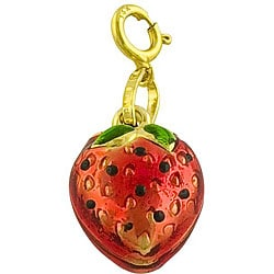 Fremada 14k Yellow Gold and Enamel Strawberry Charm