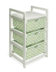 Green Dot Three Drawer Hamper and Storage Unit