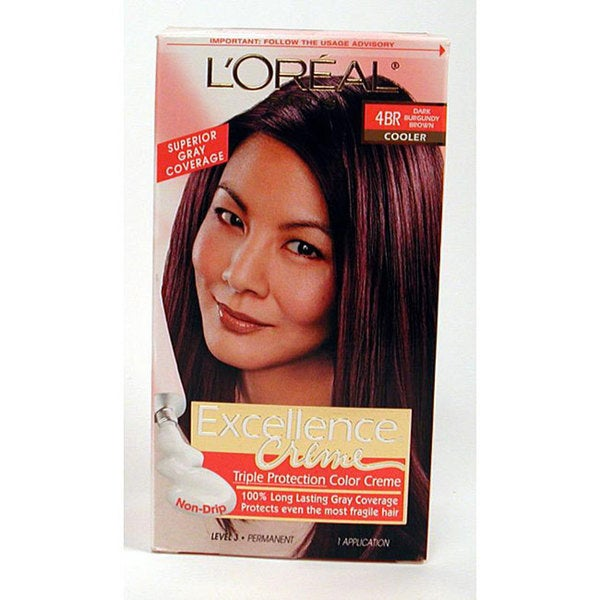 L'Oreal Excellence 4BR Dark Burgundy Brown Hair Color (Pack of 4)