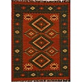 Hand-woven Red Wool/ Jute Rug (4' x 6')