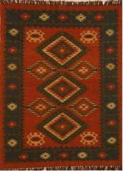 Hand-woven Red Wool/ Jute Rug (5' x 8')