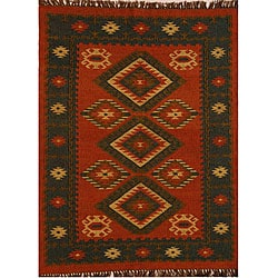 Hand-woven Red Wool/ Jute Rug (5' x 8')