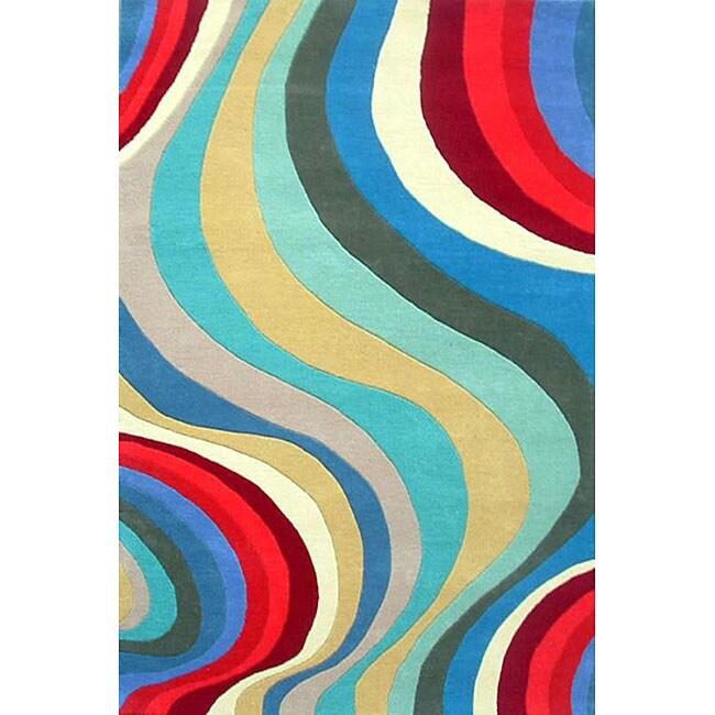 Hand-tufted Waves Wool Rug (8' x 11')