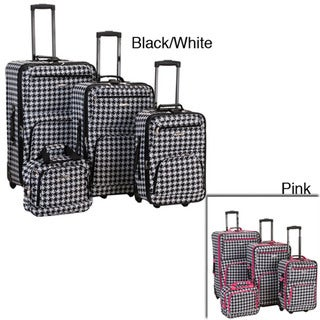 Rockland Deluxe 4-piece Black/ White Luggage Set