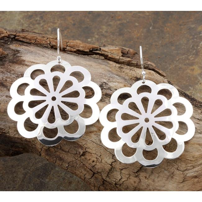 Sterling Silver Spring Flower Dangle Earrings (Mexico)