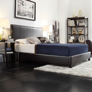 TRIBECCA HOME Castillian Dark Brown Faux Leather King-size Bed