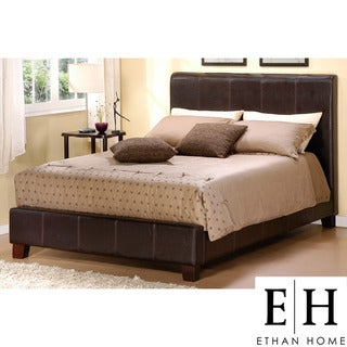 ETHAN HOME Castillian Dark Brown Faux Leather King-size Bed