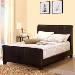 Castillian Dark Brown Upholstered King-size Sleigh Bed