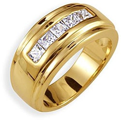 Simon Frank 1.01 ct. 14K Yellow Gold Overlay Men's Channel Set Cubic Zirconia Band