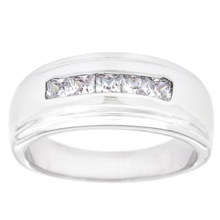 Simon Frank 1.01 ct. 14k White Gold Overlay Men's Channel Set Cubic Zirconia Band