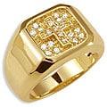Simon Frank 14k Gold Overlay Men's Cubic Zirconia Gospel Ring