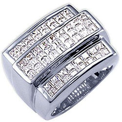 Simon Frank 14k White Gold Overlay Men's Cubic Zirconia 8-liner Ring