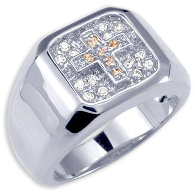 Simon Frank 14k White Gold Overlay Men's Cubic Zirconia Gospel Ring