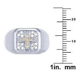 Simon Frank 14k White Gold Overlay Men's Cubic Zirconia Gospel Ring