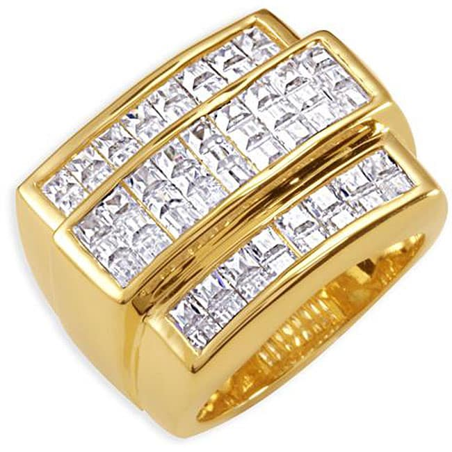 Simon Frank 14k Yellow Gold Overlay Men's 8-liner Cubic Zirconia Ring