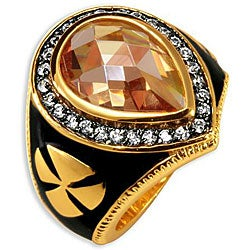 Simon Frank 14k Gold Overlay Men's CZ and Enamel Brotherhood Ring