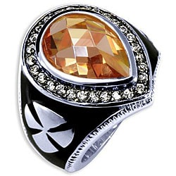Simon Frank 14k White Gold Overlay Men's CZ and Enamel Brotherhood Ring