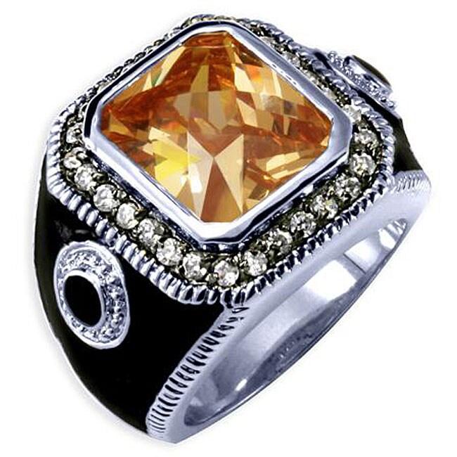 Simon Frank 14k White Gold Overlay Men's Cubic Zirconia and Enamel Ring