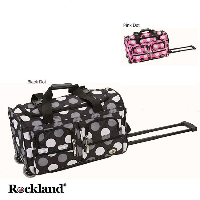 Rockland 22-inch Polka Dot Carry On Rolling Upright Duffel Bag