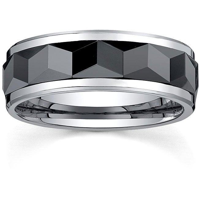 Men's Tungsten and Black Ceramic Spinner Band (8 mm)