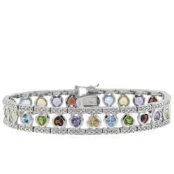 Dolce Giavonna Sterling Silver Multi-gemstone and Diamond Accent Heart Bracelet