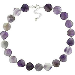 Miadora Sterling Silver Purple Agate Necklace