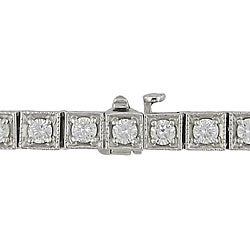 Miadora 14k White Gold 3 5/8ct TDW Diamond Tennis Bracelet (G-H, SI1-SI2)