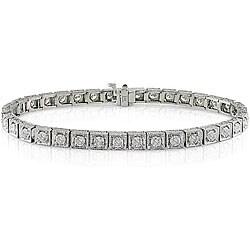 Miadora 14k White Gold 3 5/8ct TDW Diamond Tennis Bracelet (G-H, SI1-SI2)